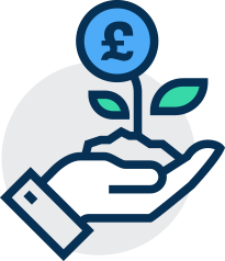 Illustration of hand holding a growing money plant