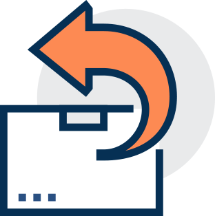 Order fulfilment Box with orange return arrow, fulfilment service, 3pl services, 3pl shipping, 3pl provider,